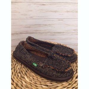 Sanuk brown tweed slip-on loafers shoes